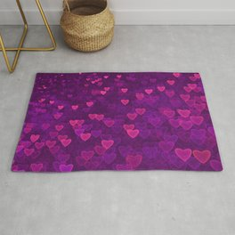 Abstract Pink Ultra Violet Love Heart Pattern | St Valentines day Rug