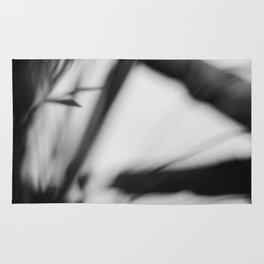 Black and white abstract, lines and blur Rug