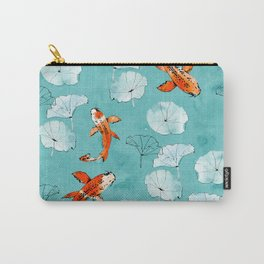 Waterlily koi in turquoise Carry-All Pouch