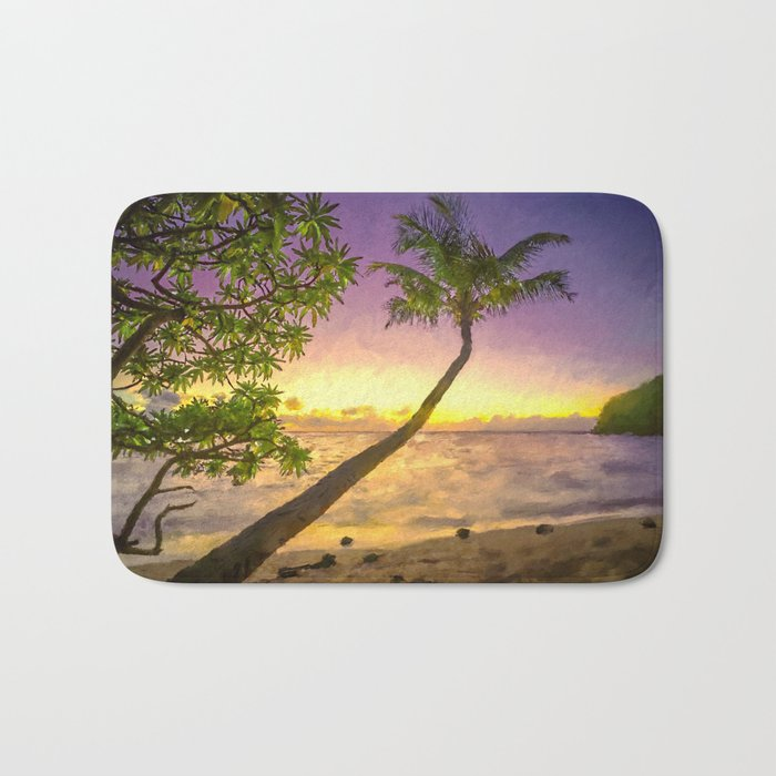 Tropical sunset beach with palms Bath Mat