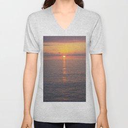 Sunset over mediterranean sea. Unisex V-Neck
