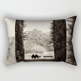Couple sitting on bench Rectangular Pillow