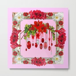 PEPPERMINT PINK RED AMARYLLIS FLOWERS & HOLIDAY ORNAMENTS Metal Print