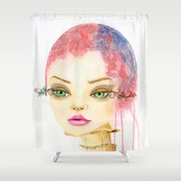 mushroom Shower Curtains featuring Mushroom by Christina Quackenbush