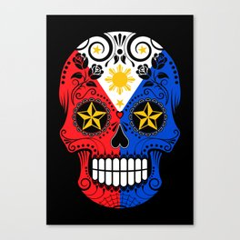 Sugar Skull with Roses and Flag of Philippines Canvas Print