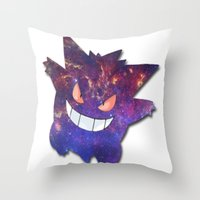 gengar Throw Pillows featuring Galaxy Gengar by Visual Declaration