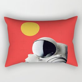 Astronaut Portrait on Red Background Rectangular Pillow