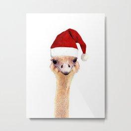 Ostrich Christmas Metal Print