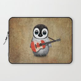 Baby Penguin Playing Canadian Flag Guitar Laptop Sleeve