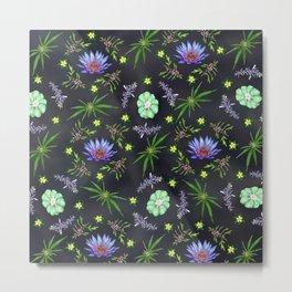 Smokeable Hallucinogenic Plants Pattern Metal Print