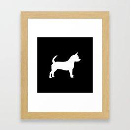 Chihuahua silhouette black and white pet art dog pattern minimal chihuahuas Framed Art Print