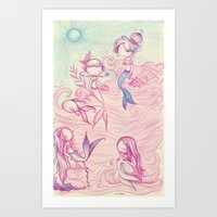 mermaids Art Prints featuring Mermaids by malipi