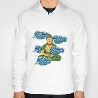 buddah Hoodies featuring Sakyamuni Buddah In The Clouds by Sarah Eldred