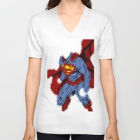 man of steel V-neck T-shirts featuring Man Of Steel by alsalat
