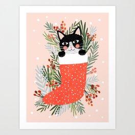 Cat on a sock. Holiday. Christmas Art Print