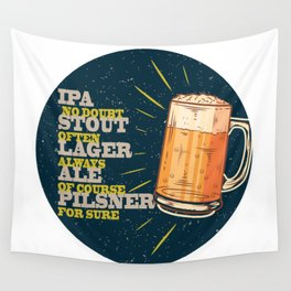 Beer always, vintage poster, circle, blue Wall Tapestry