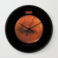 mars Wall Clocks featuring Mars by Terry Fan