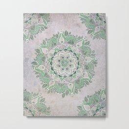 Spring Rain Mandala Metal Print