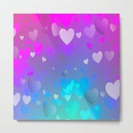 Delicate Floating Hearts  Metal Print