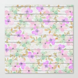 Rustic white wood mint green pink watercolor floral Canvas Print