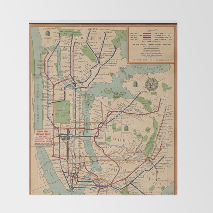 Queen Subway Map Nyc.New York City Metro Subway System Map 1954 Throw Blanket
