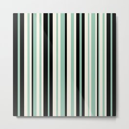 Vertical Stripes Pattern in Black, Mint Green, and Cream Metal Print
