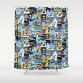 Tomorrowland Vintage Attraction Posters Shower Curtain