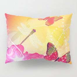 Awesome colorful flowers and butterfly Pillow Sham