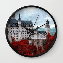 The Castle of Mad King Ludwig, Autumn, Neuschwanstein Castle, Bavaria, Germany landscape painting Wall Clock