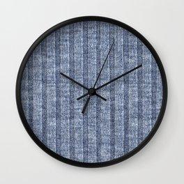 Denim Blue Jersey Knit Pattern Wall Clock
