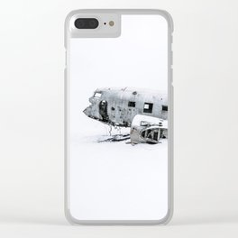Plane Wreck in Iceland in Winter - Landscape Photography Minimalism Clear iPhone Case