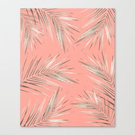 White Gold Palm Leaves on Coral Pink Canvas Print