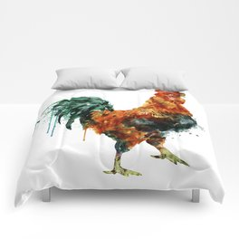Rooster watercolor painting Comforters