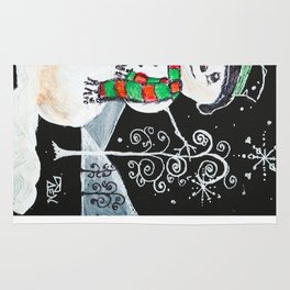 Snowman on Black Rug