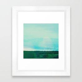 Astract Modern Landscape Wall Art Green and Blue Color Block Framed Art Print