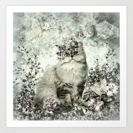 FLORAL KITTY Art Print