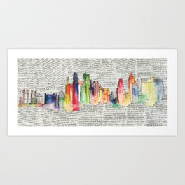 Watercolor skyline Art Print