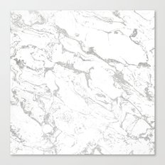 Modern silver white marble pattern Canvas Print