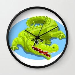 Cartoon Crocodile Vector Design 2 Wall Clock