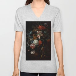 "Philip van Kouwenbergh ""Flowers in a Vase"" Unisex V-Neck"