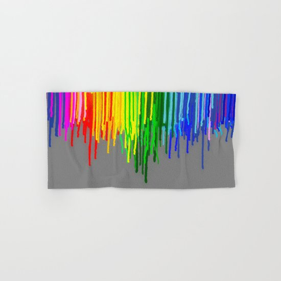 Rainbow Drips Gray Hand & Bath Towel