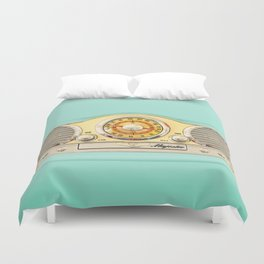 Retro old classic vintage blue teal Majestic radio iphone case Duvet Cover