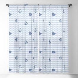 Nautical Navy Blue Chevron Baby Boy Nursery Sheer Curtain