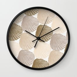 Sea Shells Pattern in Beige and Cream Wall Clock