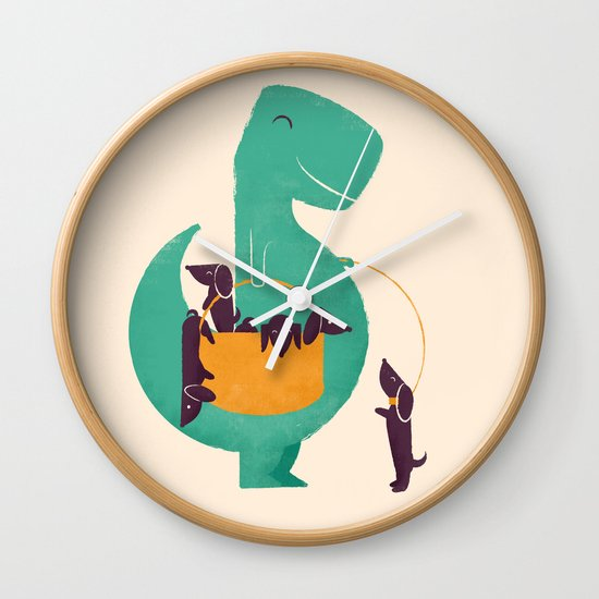 T-Rex and his Basketful of Wiener Dogs Wall Clock