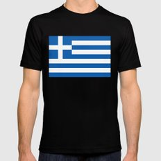 Greek flag MEDIUM Mens Fitted Tee Black
