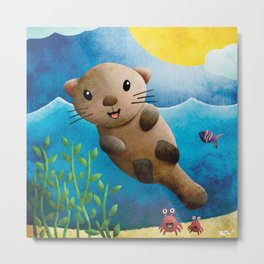 Nick Otterman - Out of Office with Crabby Friends - Nursery Art Metal Print