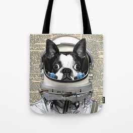 Space Pup with dictionary background Tote Bag