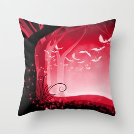 Dark Forest at Dawn in Ruby Throw Pillow