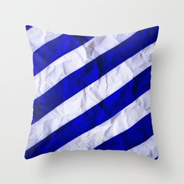 Crumbled Navy Stripes Throw Pillow